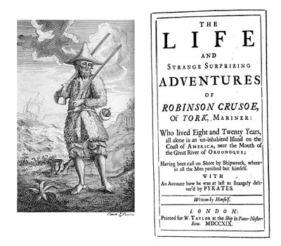 The Life and Strange Surprizing Adventures of Robinson Crusoe - Vol 1, 1st edition (London: W. Taylor, 1719).